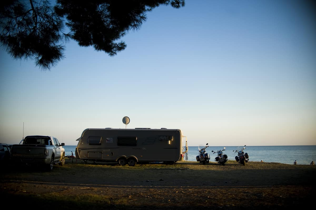 Bikers camping on the beach