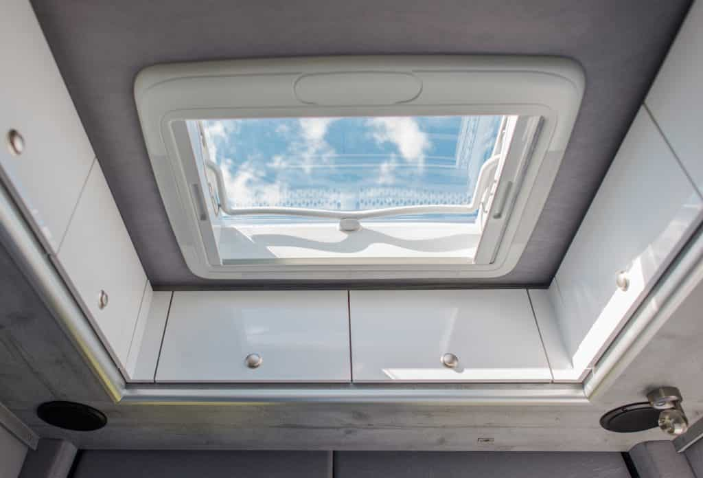 Camper Van Clear Glassy Roof Vent. Air Circulation in the Motor Home.
