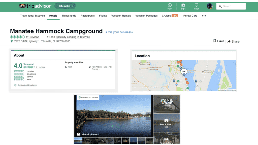 TripAdvisor is one of my favorites, especially for reviews because you can find campgrounds, activities, and restaurants in the area. All have visitor photos so you can see what it looks like today (not when it opened many years ago) and reviews. The only drawback is that you need to have a city to search on.