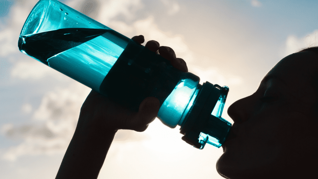 Start your hike hydrated and continue to replace fluids throughout. Drink before feeling thirsty. By the time you feel thirsty, you are already behind in fluid replacement. As a general rule, drink a cup every half hour.