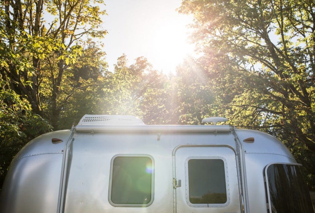 small airstream in the sunlight