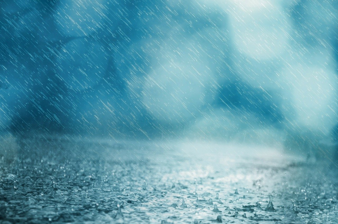 rain on a road