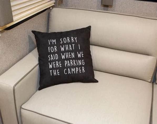 A pillow inside an RV