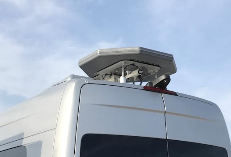 Kymeta antenna on back of RV