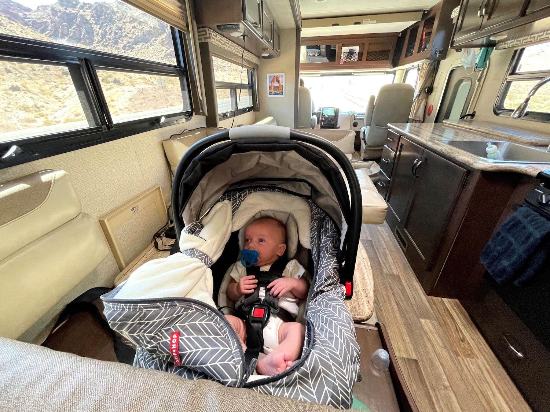 baby car seat in motorhome