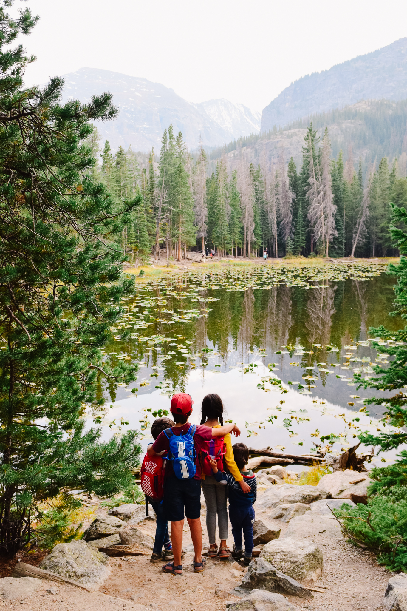 Kids hiking in Rocky Mountain national park
