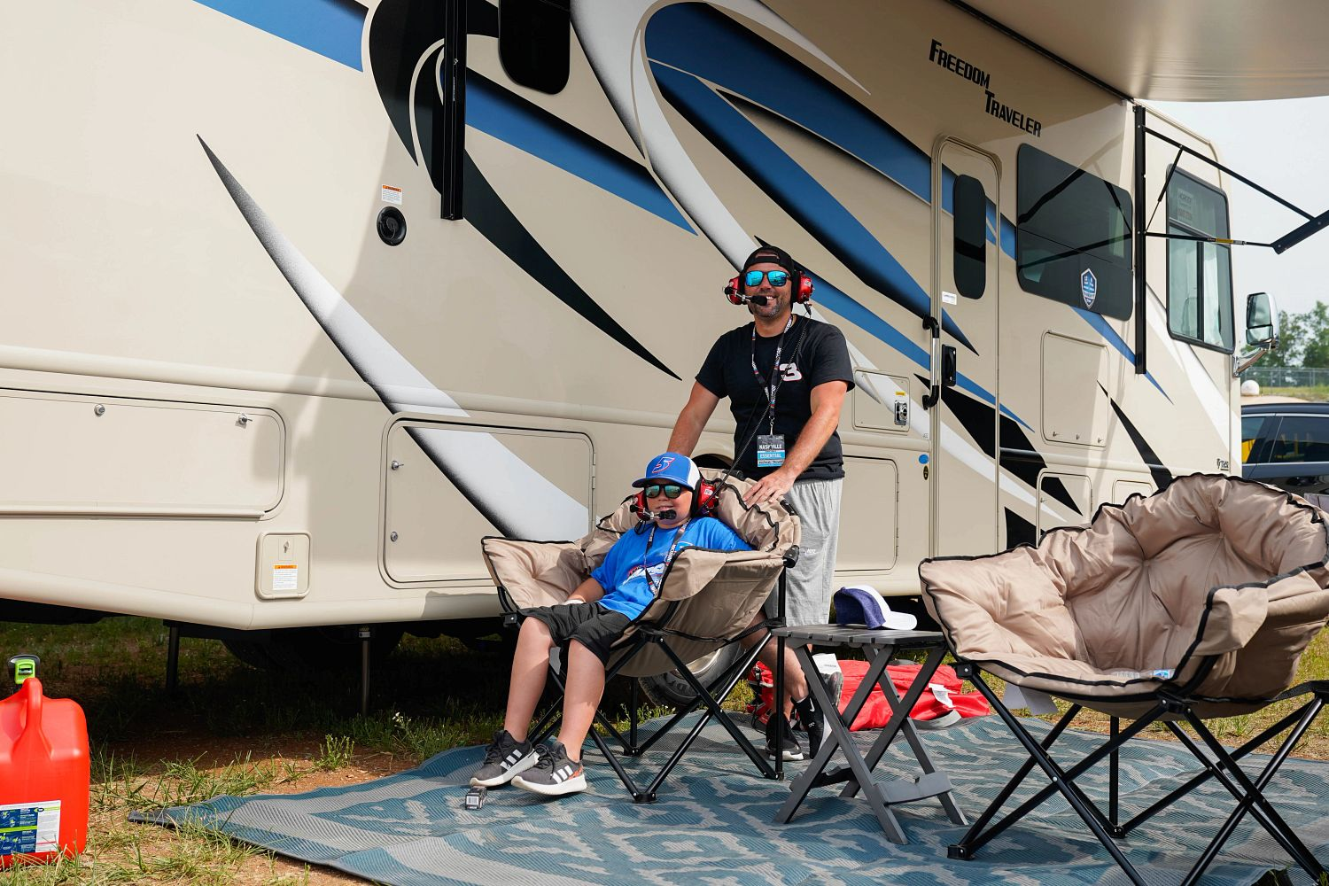 Michael and Mikey Palmer at the campsite