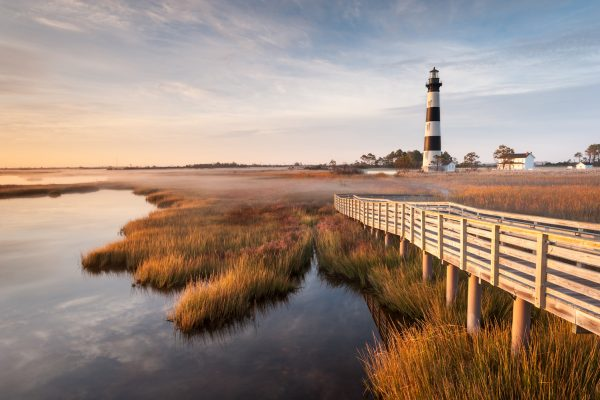 Outer Banks coast with lighthouse.