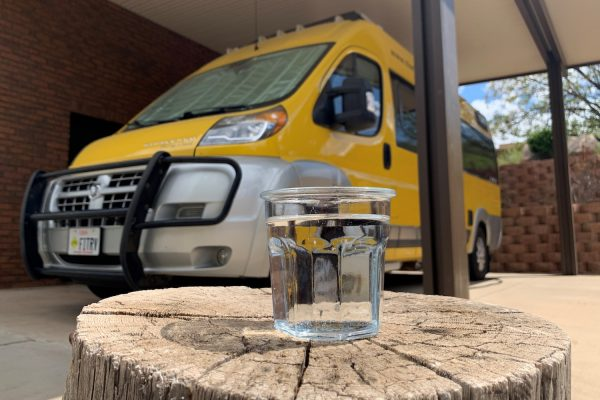 water glass in front of RV
