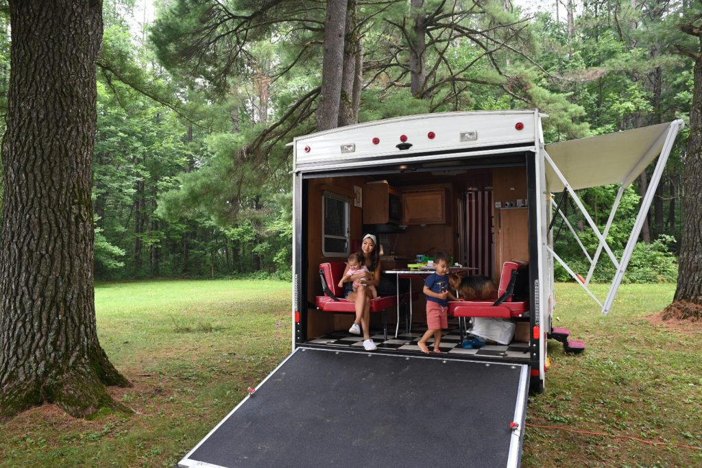 Toy Hauler Garage Open with Anderson Family