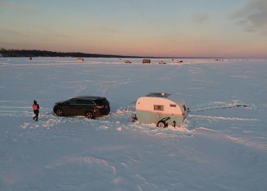 Ice house setup on Chequamegon Bay