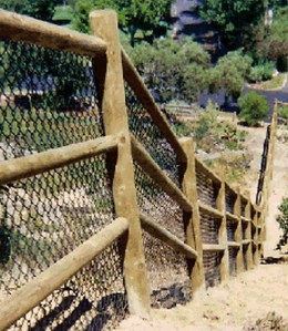 Lodge Pole Fence with Black PVC Chainlink