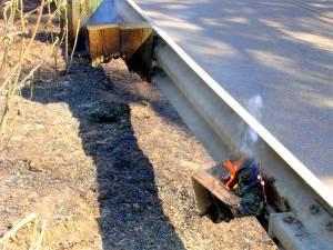 Guardrail Fire Damage