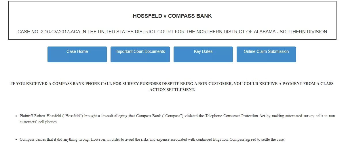 www banksurveytcpasettlement com - Campass Bank Lawsuit Settlement Guide