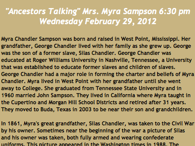 Myra Chandler Sampson To Discuss Silas Chandler