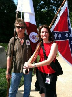 Michael Givens (SCV) and Susan Hathaway on the Boulevard in Richmond, Va.