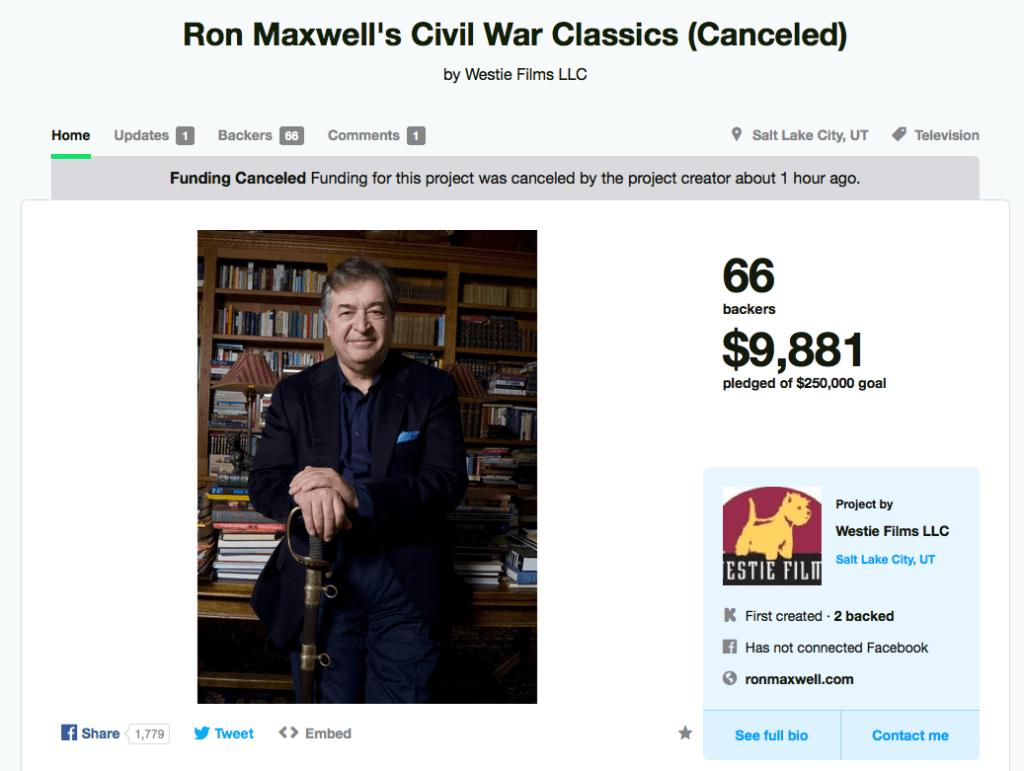 Ron Maxwell Kickstarter Canceled