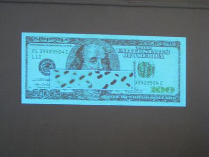 Projected interface for Takashi Kawashima's Ten Thousand Pennies project