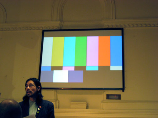 Kwong of Castlefield Gallery and color bars in ornately arched hall at Instituto Cervantes.