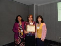 Susmita, Jessica and Jiayang with Jessica's Distinguished Professional Service Award.