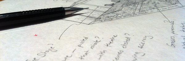 Pencils at drawing board