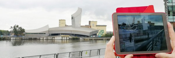 Smart phone screen showing AR and Lowry Centre