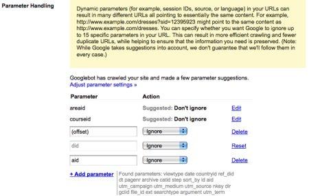 parameter handling duplicate content