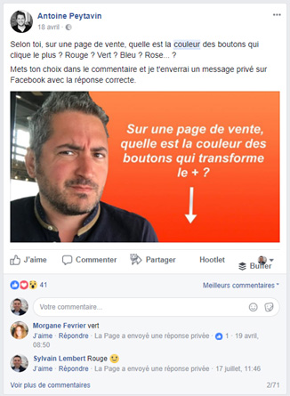 Antoine Peytavin: chatbots comments in a Facebook publication
