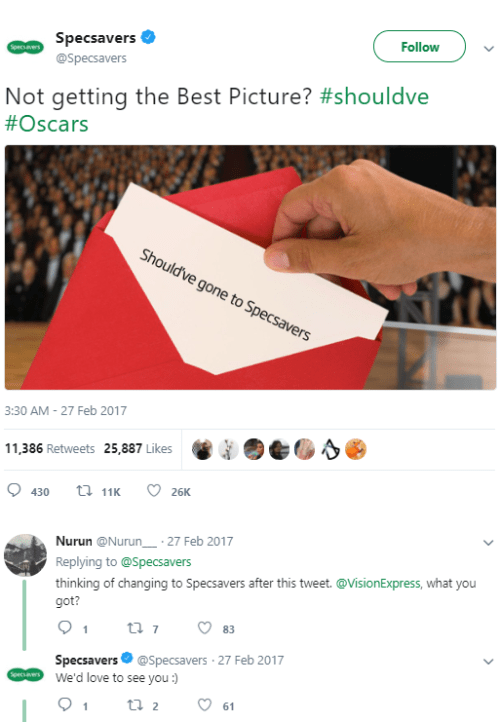 Specsavers reacts to the Oscars
