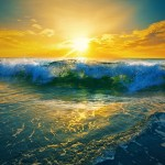 Sunrise ocean waves