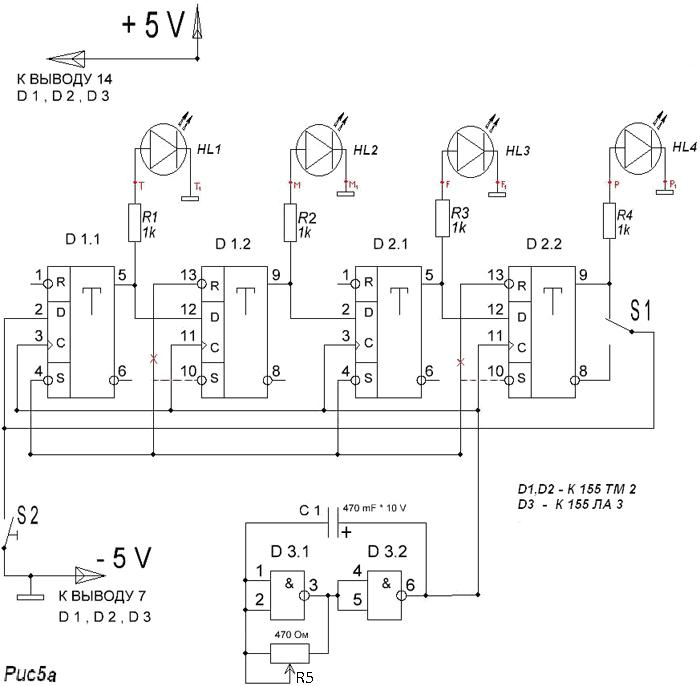 Сағат генераторынан және триггердің төрт элементінен жарықтандыру