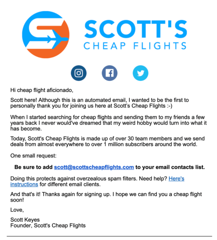 Scott's Cheap flights email.