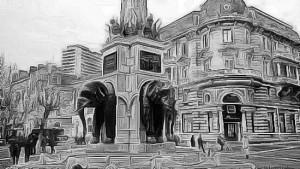 Chambéry, fontaine des éléphants