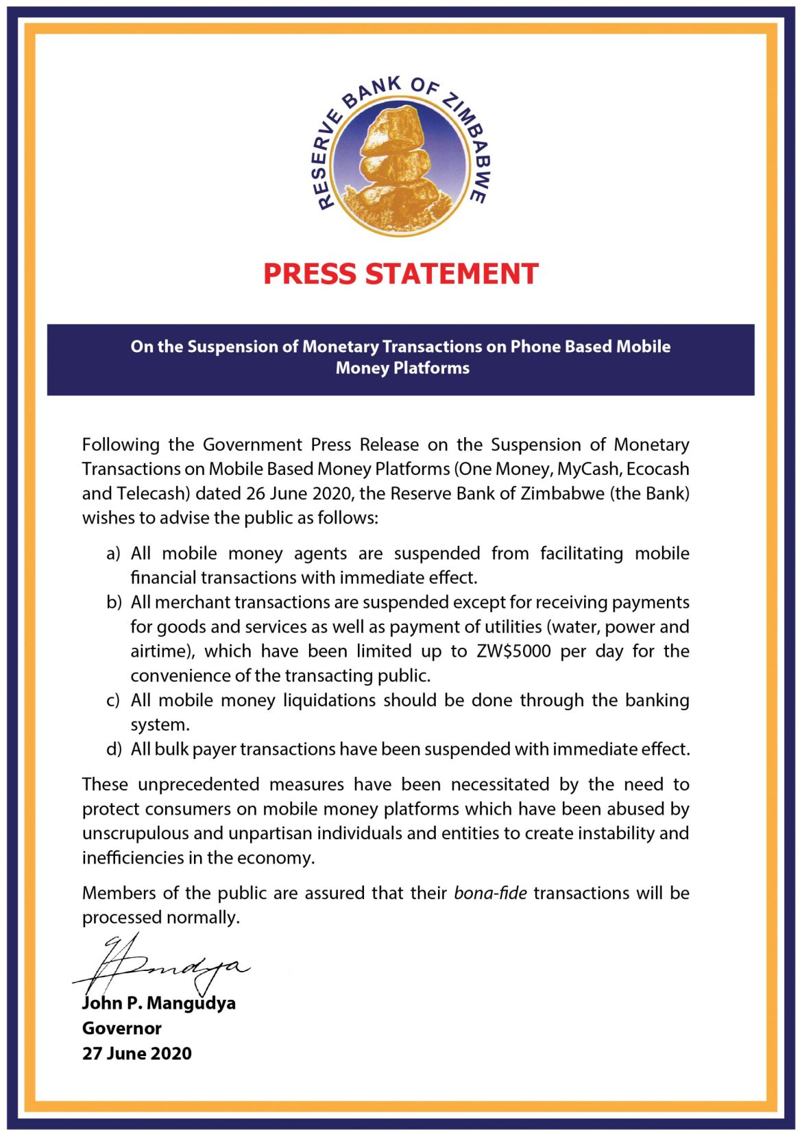 RBZ Clarifies On Mobile Money Ban