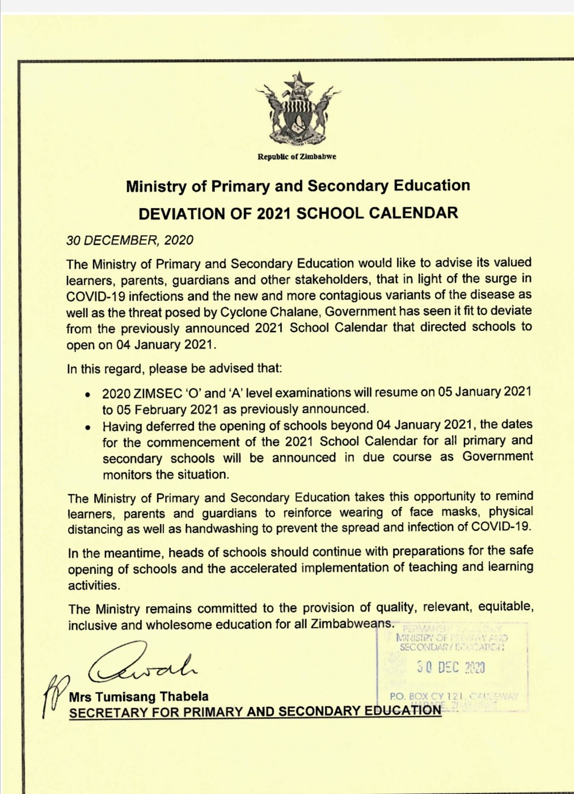 Government Postpones Opening Of Schools