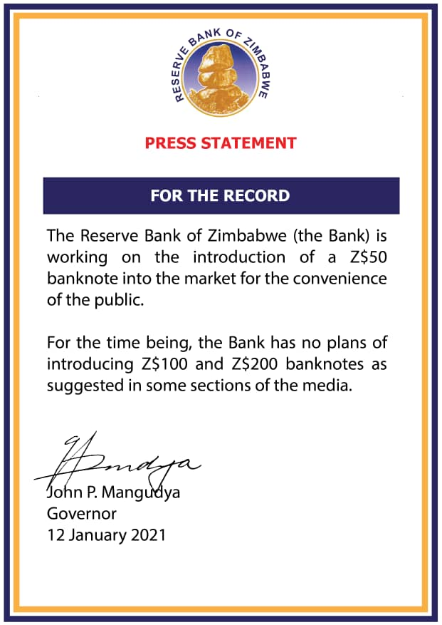No Plans To Introduce $100, $200 Banknote: RBZ Refutes Reports
