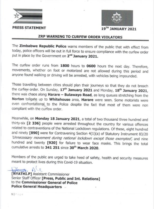 ZRP Steps Up Enforcement Of Covid-19 Curfew