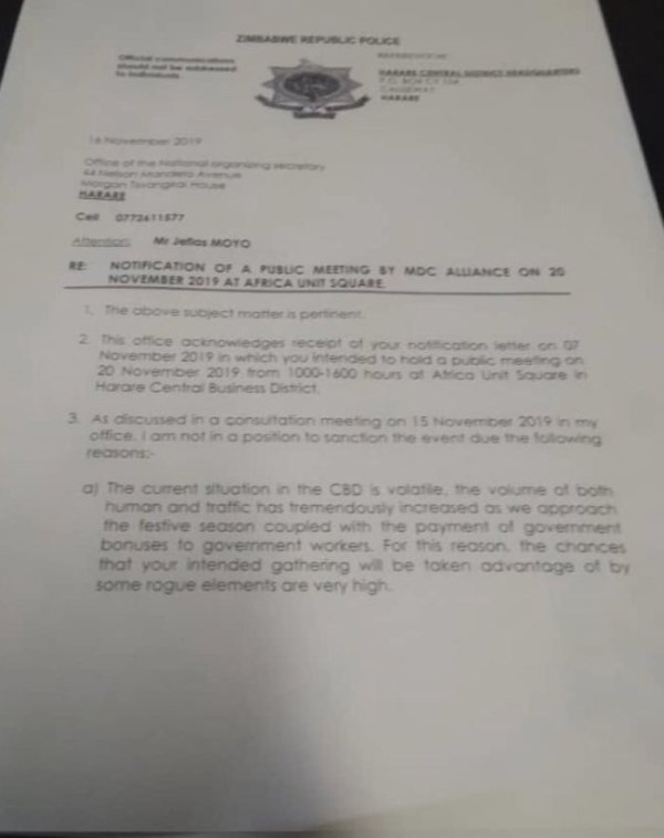 Police Ban Chamisa's Hope of the Nation Address
