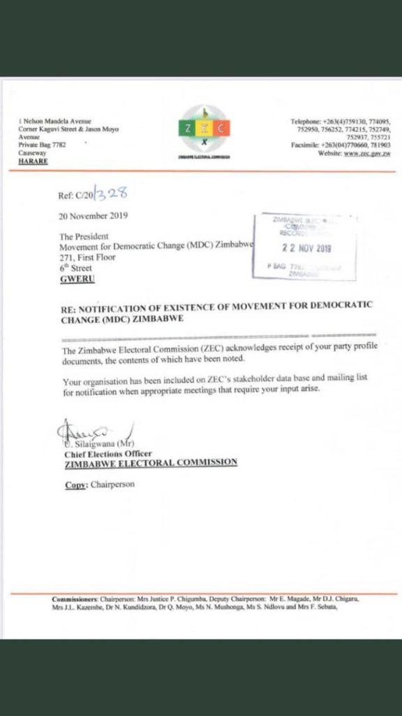 'MDC Zimbabwe' surfaces