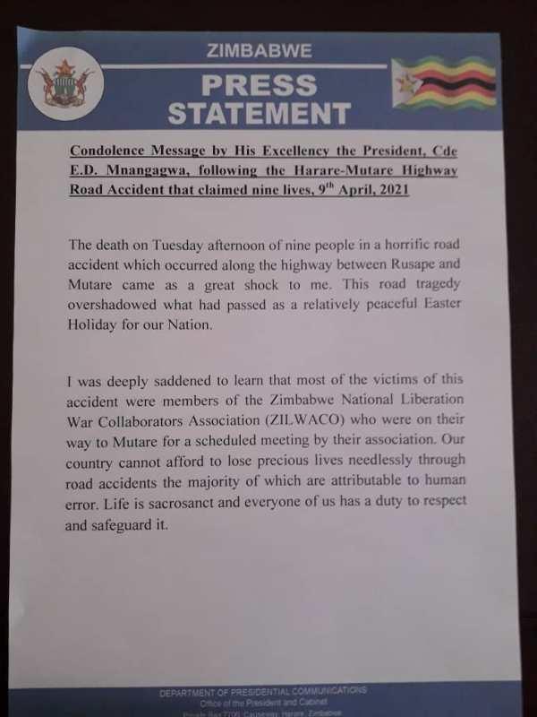 Victims Of Harare-Mutare Road Accident Were Liberation War Veterans: President Mnangagwa