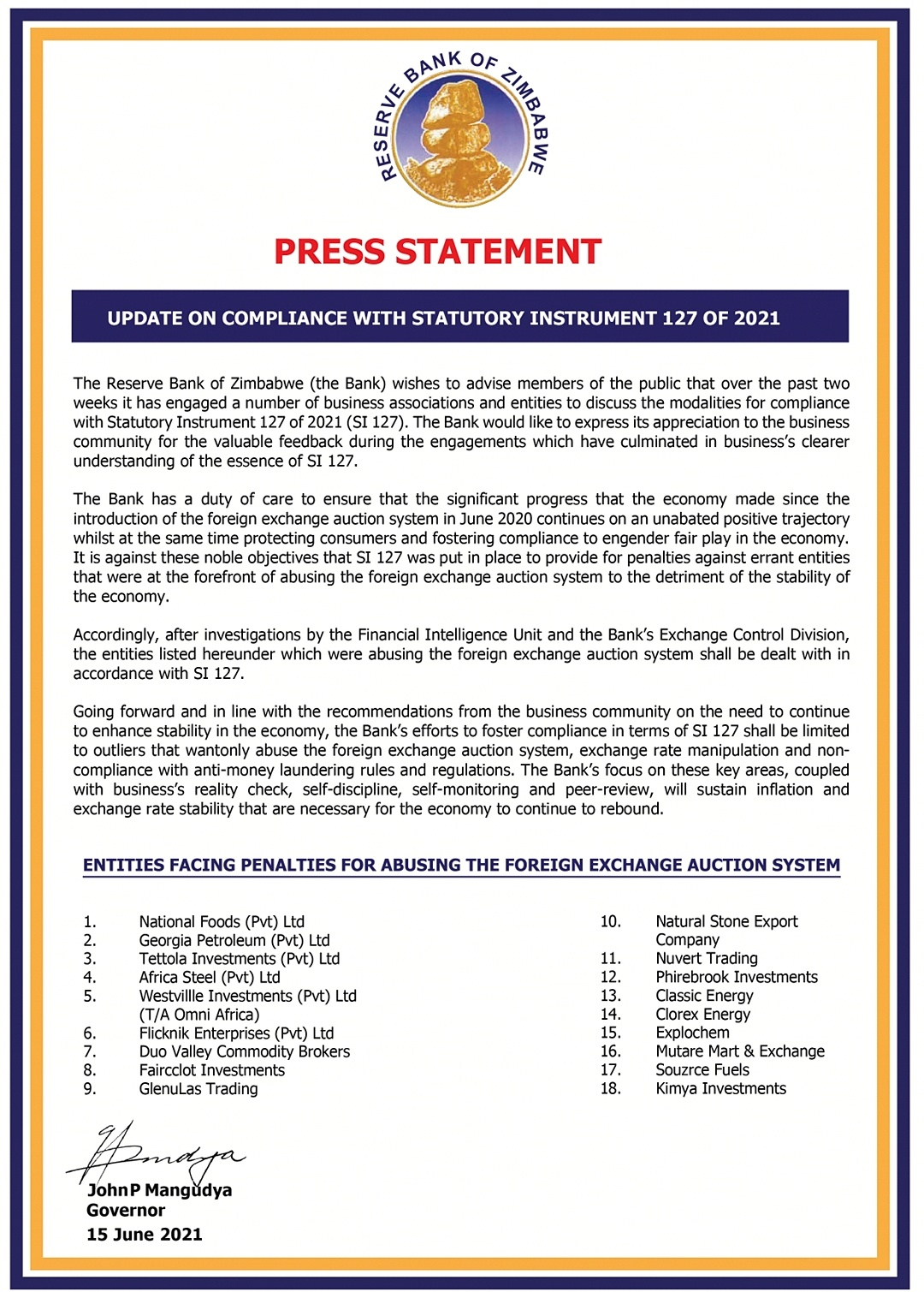 """RBZ Names & Shames 18 Companies That """"Abused"""" Foreign Exchange Auction System"""