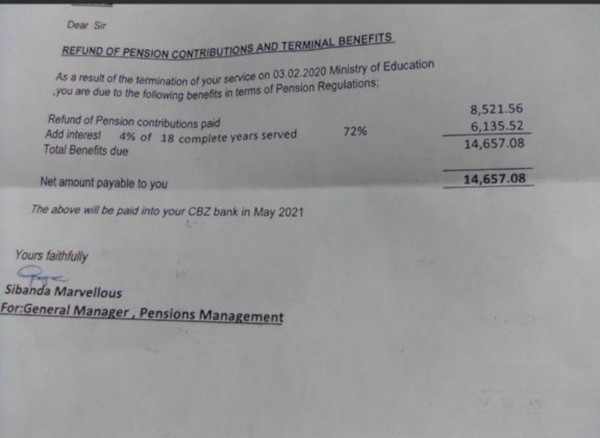 Zimbabwe Teacher Receives Z$14 600 Pension After 18 Years Service: Unions Cry Foul