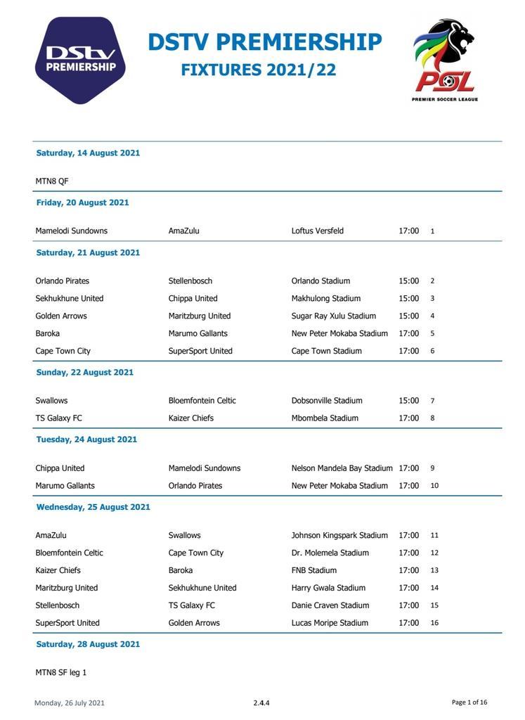 Dstv Premier League Fixtures Table For 2021 2022 Season Sleek Gist