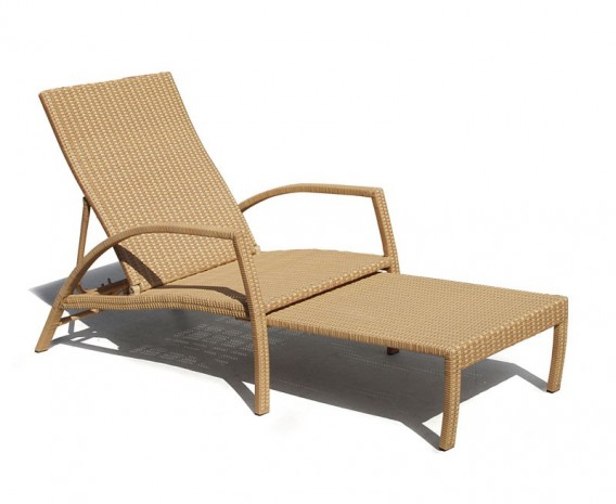 Monaco Rattan Garden Sun Lounger, Adjustable Sun Lounger