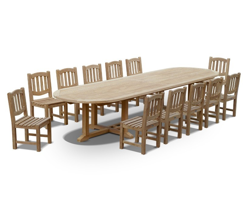 12 Seater Teak Dining Set With Hilgrove Oval 4m Table