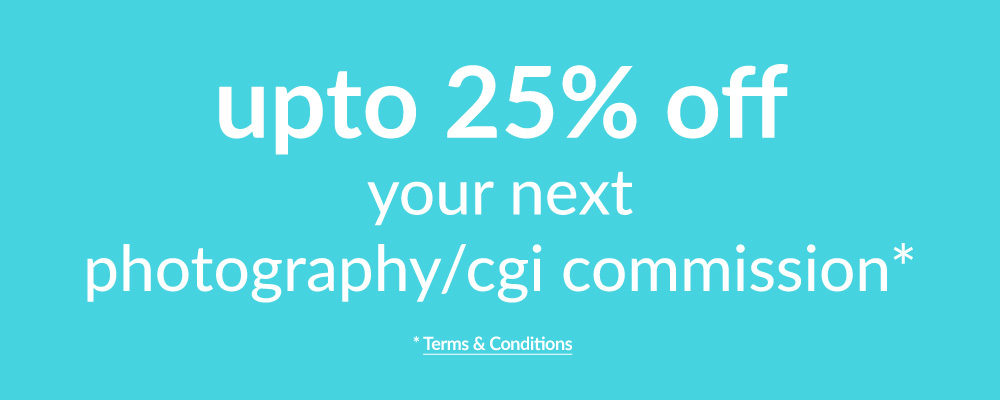 Up to 25 percent off your next room set photography or CGI commission with Cyan Studios. Click for details!