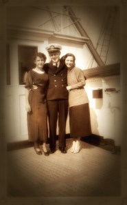 """on board the steamship circa 1934- this is a photo of """"Lauren"""" and another passenger from my story of her summer journey, """"A Canticle for Meg"""""""