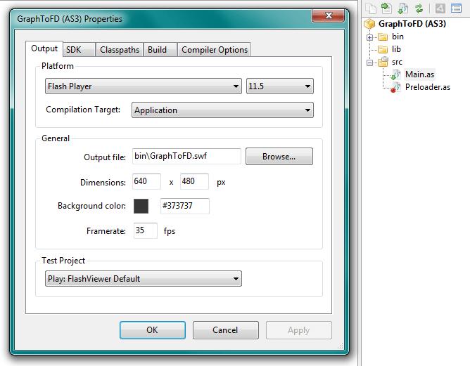 Рис. 2. Настройки и структура файлов и папок нового проекта.