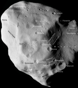 annotated map of asteroid 21-Lutetia