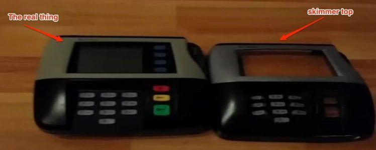 Skimmer swiping cards POS machine